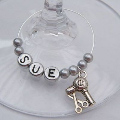 Hairdresser Personalised Wine Glass Charm